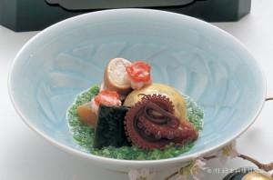 巻繊豆腐湯波包み 飯蛸桜煮