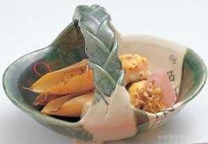 鮎魚女菜種焼 鴨・筍挟み焼