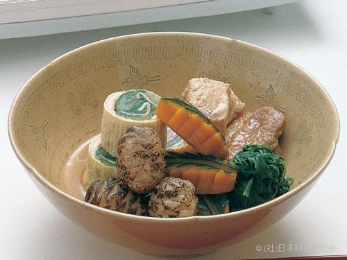 白菜ベーコン信田巻、鴨治部煮、蒟蒻翁煮、木の葉南京、松笠芋
