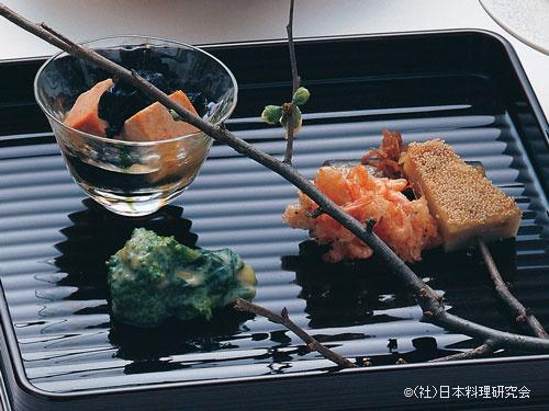 鮟肝・岩茸山葵酢合せ、小鰯生姜煮、川海老かき揚、慈姑松風、菜の花