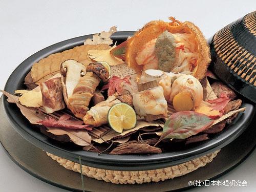 甘鯛三味焼、毛蟹、名残松茸上州豚巻、上州豚スペアリブ、上州豚心臓・肝臓