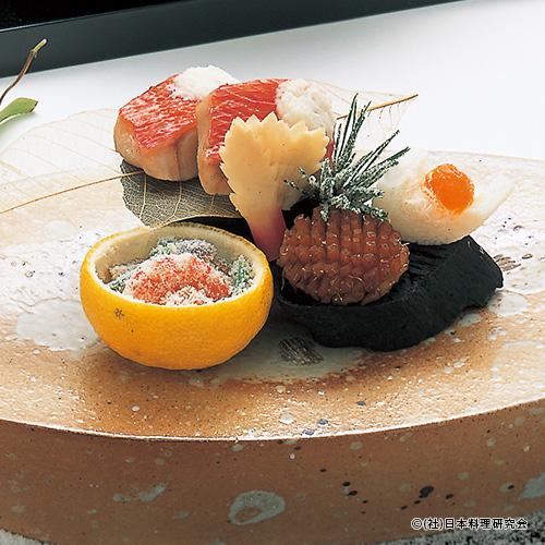 金目鯛雪花焼、常節松笠焼、柚子釜初霜和え