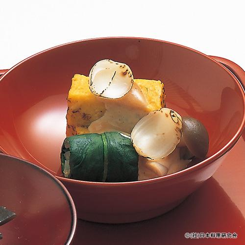 焼粟麩、百合根凍み蒟蒻、湿地茸菠薐草胡桃和え