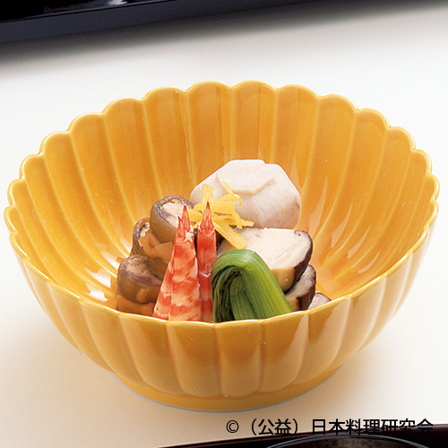 海老芋スープ煮・秋刀魚松前煮・車海老艶煮・椎茸最中