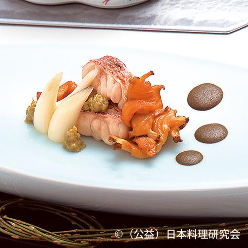 甘鯛若狭焼、鮑・雲丹燻製焼