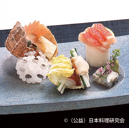 炙り河豚、炙り北海粒貝、炙り金目鯛