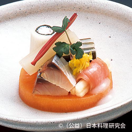 甘海老養老巻、鮃昆布重ね、サーモン津軽巻、〆鯖