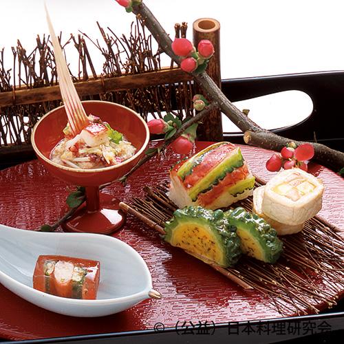 桜オクラゼリー寄せ、あぐー豚市松、赤マチゴーヤー手綱寿司等