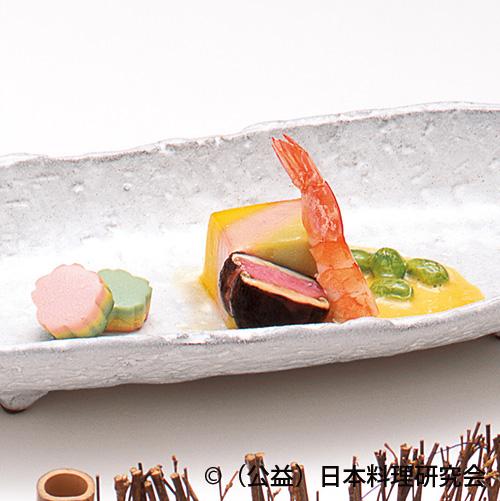 三色豆腐黄身酢、海老芝煮、椎茸桜糝薯