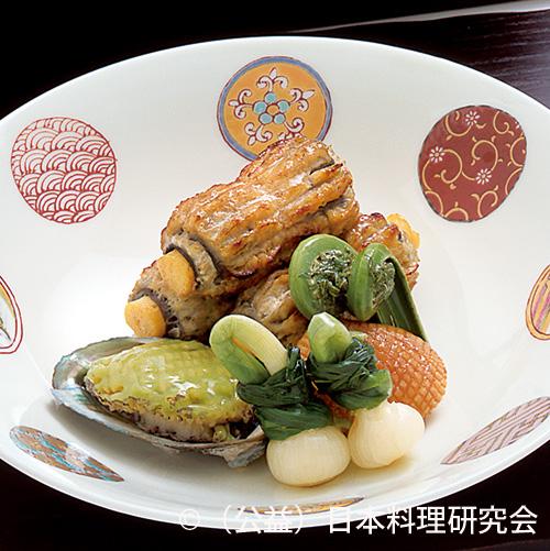 鰻八幡巻、姫鮑薄豆煮