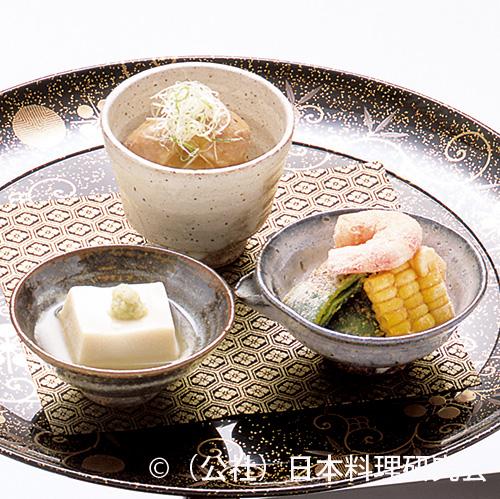 発酵胡麻豆腐、小芋納豆もどき、焼野菜海老粉まぶし