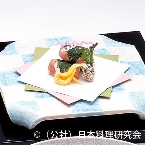 海老芋桜香揚蕗味噌鋳込み、白魚山吹揚、楤の芽霰揚