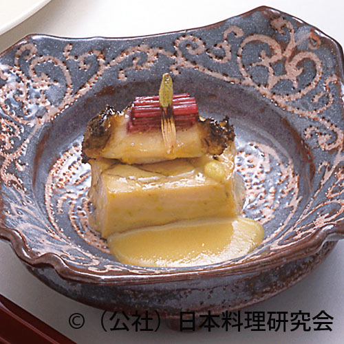 蕗の薹胡麻豆腐、鮑千段