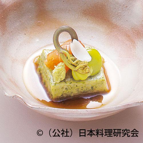 蓬豆腐、富士山サーモンマリネ