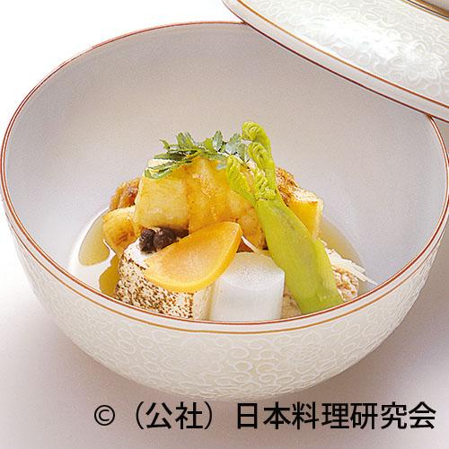 眼張筍揚煮、鯛の子含ませ、焼豆腐田舎煮