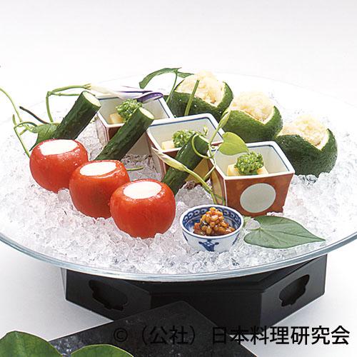 玉蜀黍豆腐、フルーツトマト生ハムムース鋳込み、鱧の子塩辛