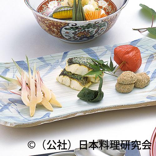 鱸蓼味噌焼、春子椎茸芥子の実揚