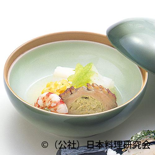 夏鴨フォアグラ鋳込み、玉蜀黍団子、海老艶煮、根芋含ませ