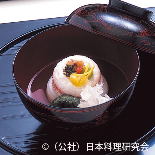 甘鯛木の実鋳込み、菊菜白玉餅