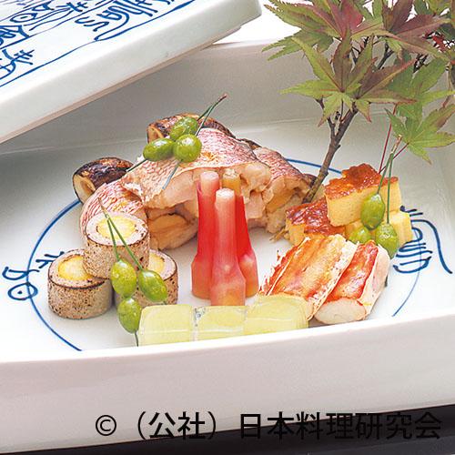 甘鯛松茸鋳込み焼、鱈場蟹雲丹焼、満月蕎麦がき