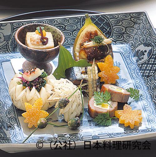 銀杏豆腐、牡蠣・無花果田楽、秋刀魚有馬煮、合鴨洋菜焼、蟹・菊 菜とんぶり和え