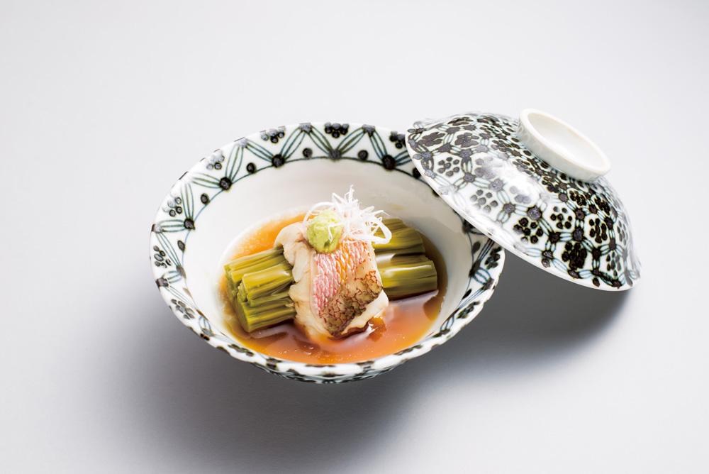 信州蒸し(甘鯛、茶蕎麦、白髪葱、山葵、美味餡)(Sample)