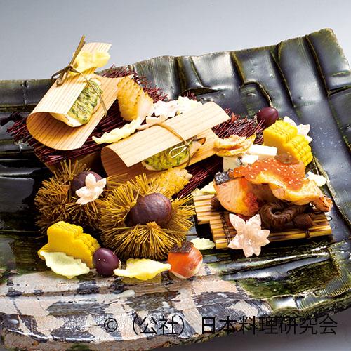 鯧杉板焼、秋鮭親子焼、松笠烏賊照焼、畳鰯紅葉焼