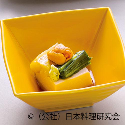 落花生豆腐、焼茄子、菠薐草、生海胆