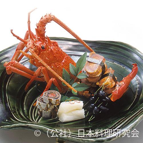 伊勢海老唐墨焼、干し柿鮭香り巻