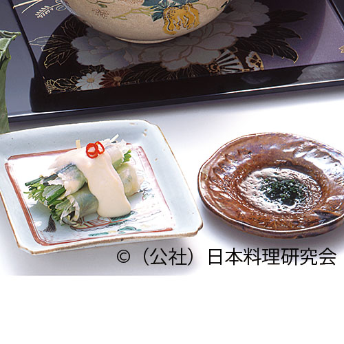 河豚身皮彩り野菜巻