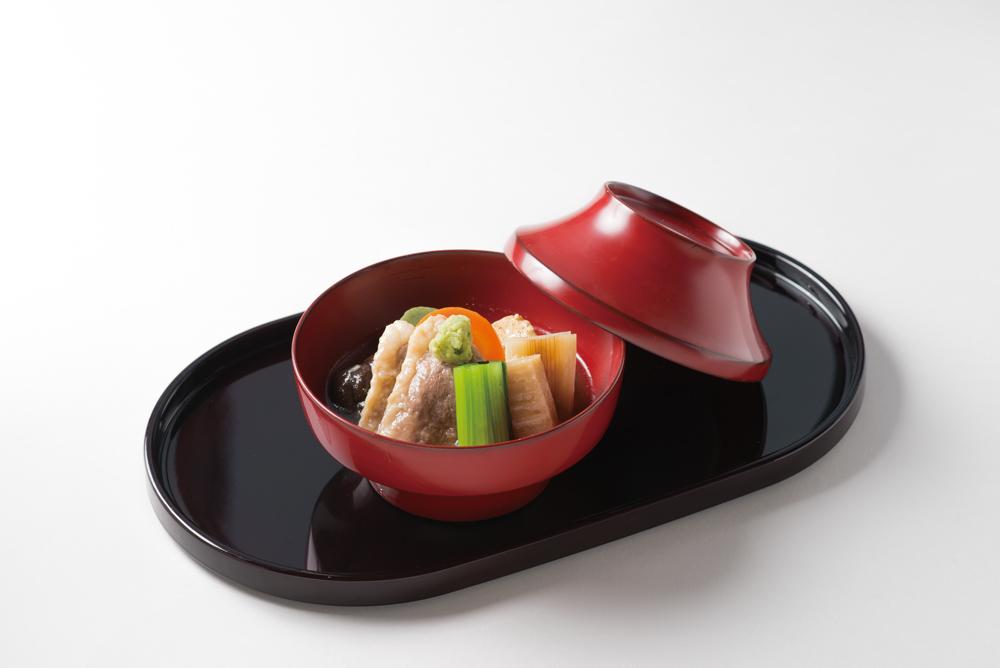合鴨治部煮(すだれ麩、椎茸、焼豆腐、小松菜、山葵)(Sample)