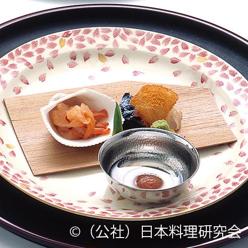鯛かきあゑ煎唐墨、唐草赤貝