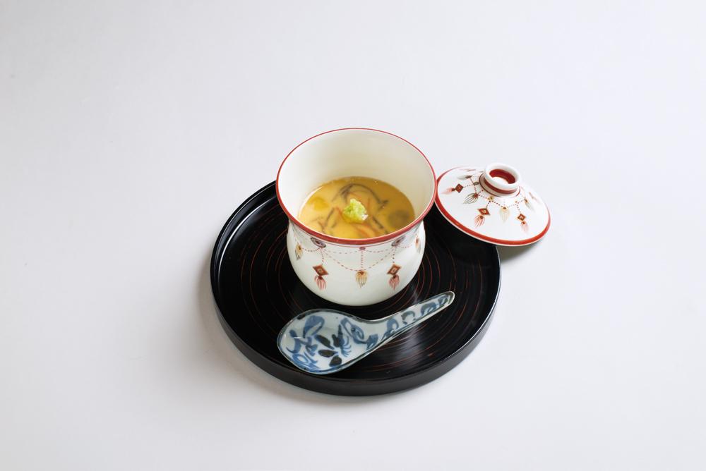 南禅寺蒸し(鰆、豆腐、木耳、人参、百合根、銀杏、山葵)(Sample)