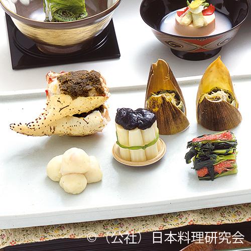 姫皮外子和え、甲羅花山葵和え、抱き身バター餅包み