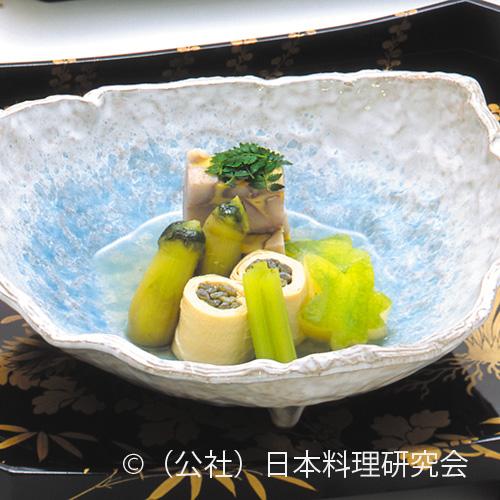石垣小芋、薇湯葉巻、茄子土佐煮