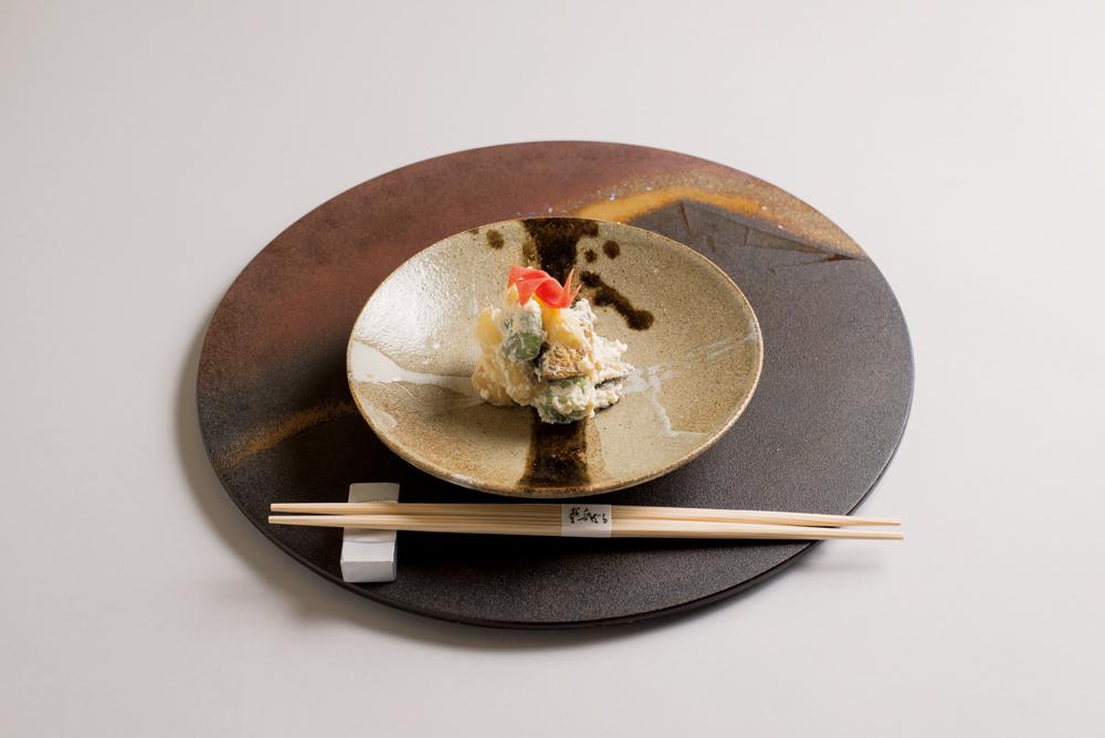 白アスパラ・鮑(白和え、蚕豆、縒り人参)