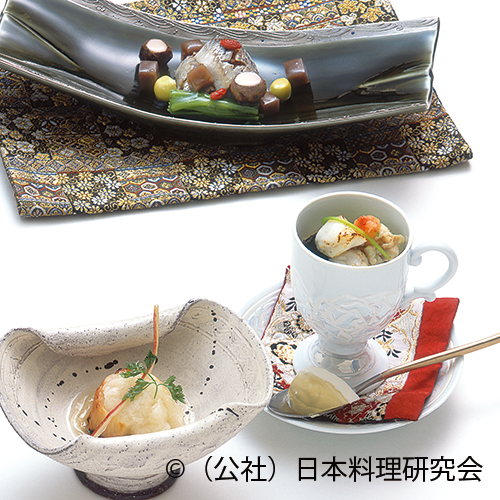 帆立貝柱林檎酢掛、天然河豚煮凝豆乳カクテル、鰯壬生菜昆布〆
