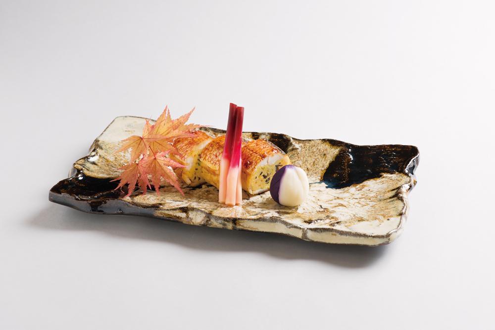 甘鯛巻繊焼(百合根紫芋茶巾、はじかみ)