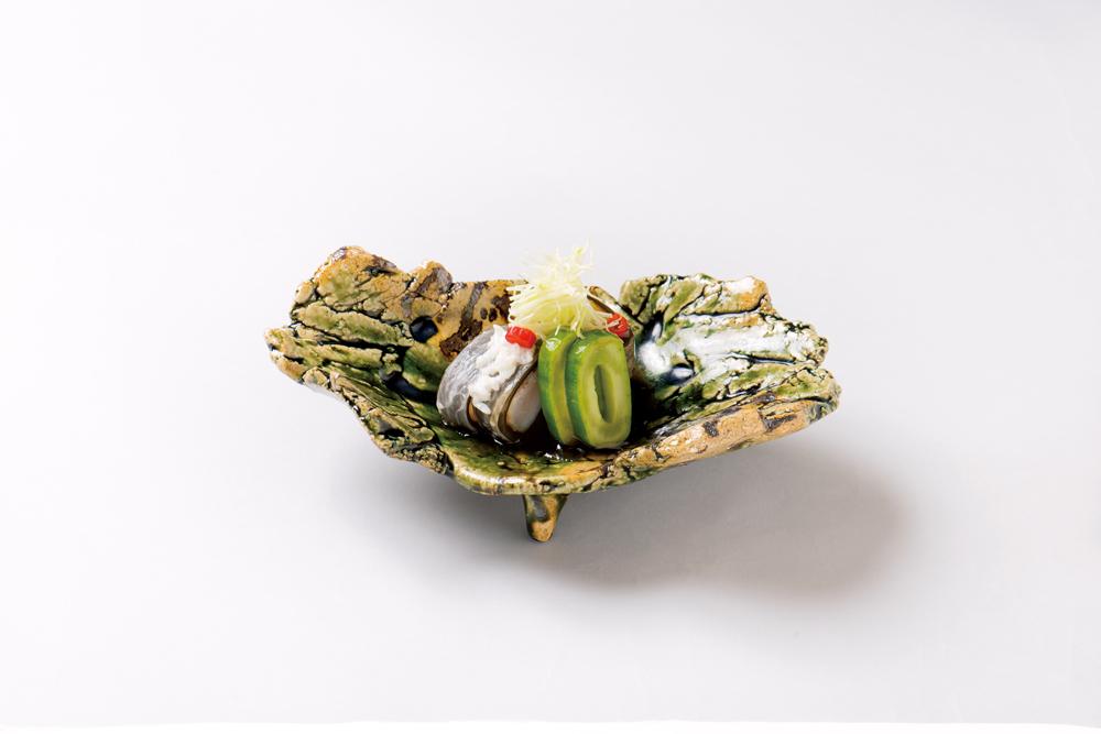 甘鯛昆布〆麹漬(白瓜昆布〆、針山葵、加減醤油餡)