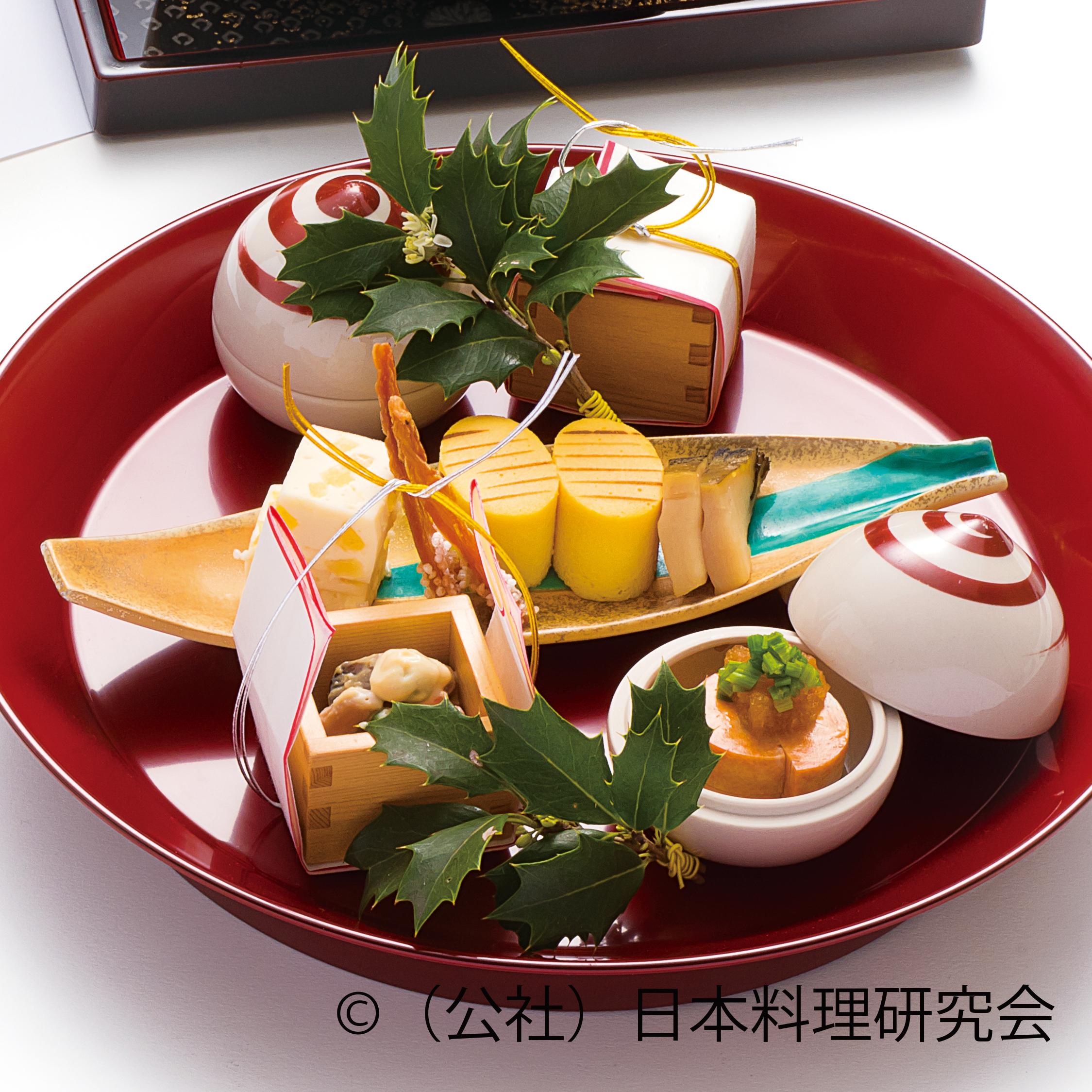 鮟鱇肝ちり酢、豌豆白和え、干子、小判カステラ、蒸鮑、柚子チーズ寄せ