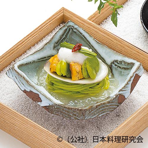 蚕豆素麺、黄金蛤、雪中蚕豆