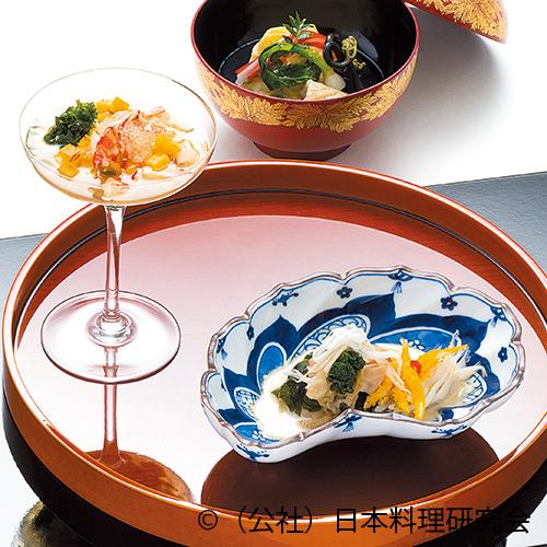 蛤利久煮白魚酒蒸しマスカルポーネポン酢仕立、車海老・炙り唐墨ジュレ