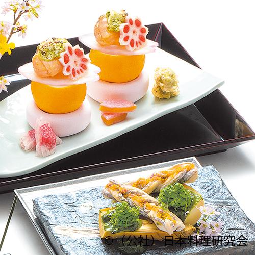 桜鱒なごり雪、苺酢漬奉書巻、白子筍木の芽味噌