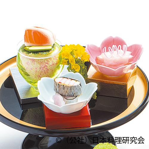 二身桜鱒、河豚昆布〆、縒り葛素麺