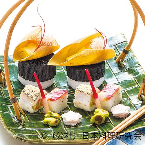 朝掘筍蒸焼、甘鯛翁焼、茗荷寿司、大根桜漬、蚕豆塩焼