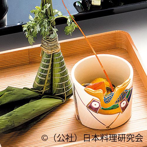 伊勢海老・蚕豆蕨唐墨まぶし、鱚粽鮨