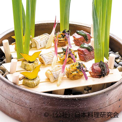 太刀魚酒焼、油目木の芽焼、牛黒胡椒焼クレソンソース、丸茄子フォアグラ焼