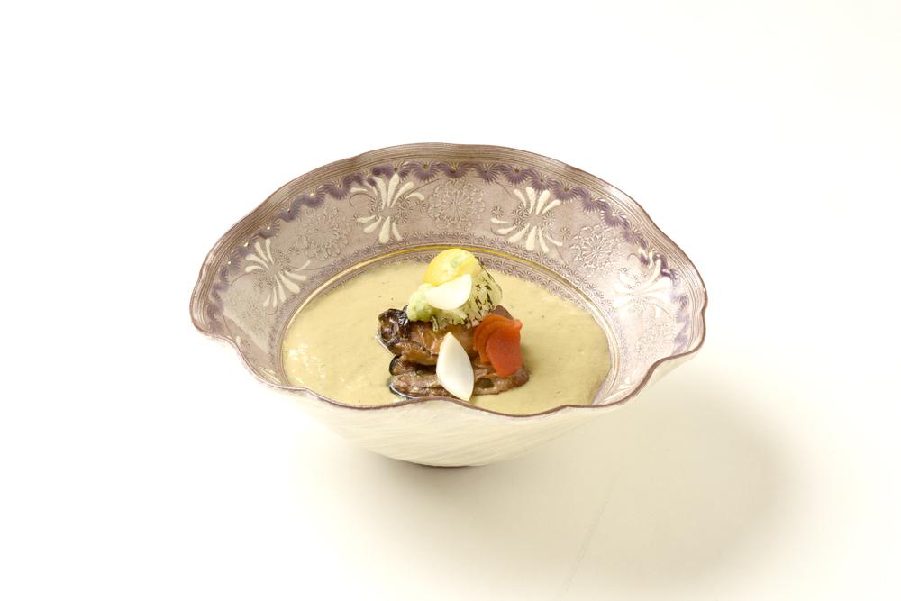 牡蠣南禅寺(牡蠣燻製、焼葱、山葵)