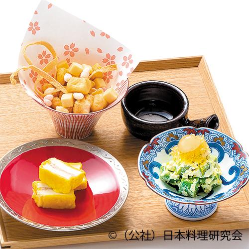 霰豆腐、豆腐博多揚、鰐梨白和え