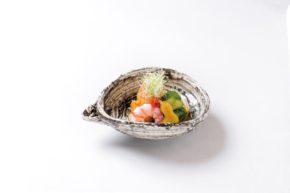 甘鯛南蛮漬、海老南蛮漬(蛇腹胡瓜、高野豆腐アチャラ漬、伏見唐辛子、合い混ぜ葱)